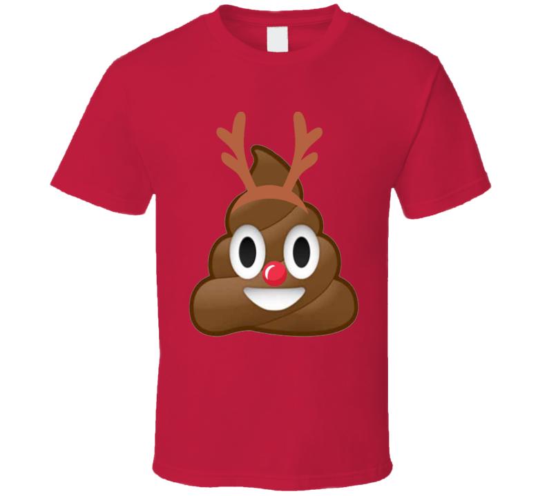 Poop Emoji Holiday Reindeer Antlers T Shirt